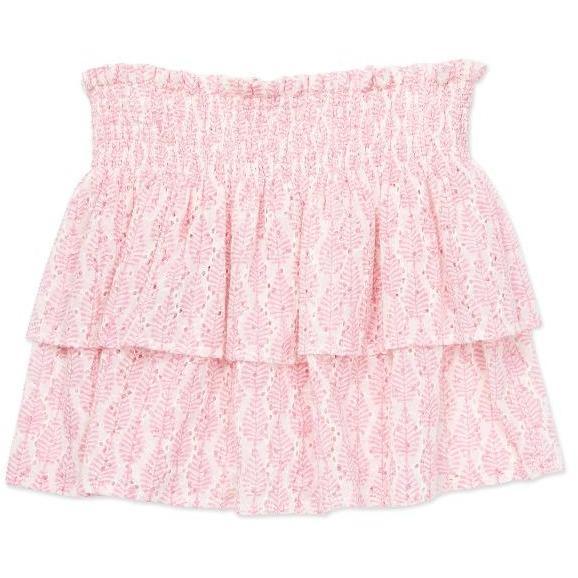 bonton leaves smocked skirt pink