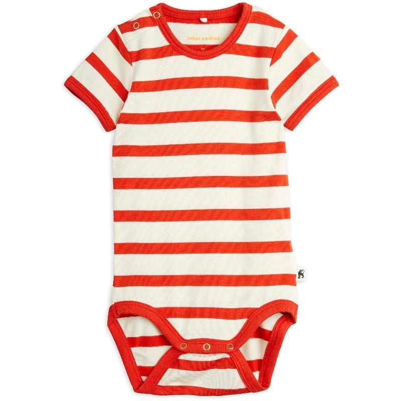mini rodini stripes short sleeve baby body red