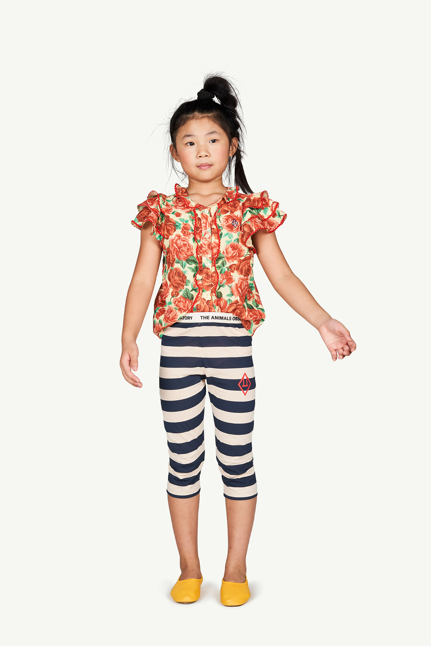 the animals observatory eagle kids leggings peachy stripes