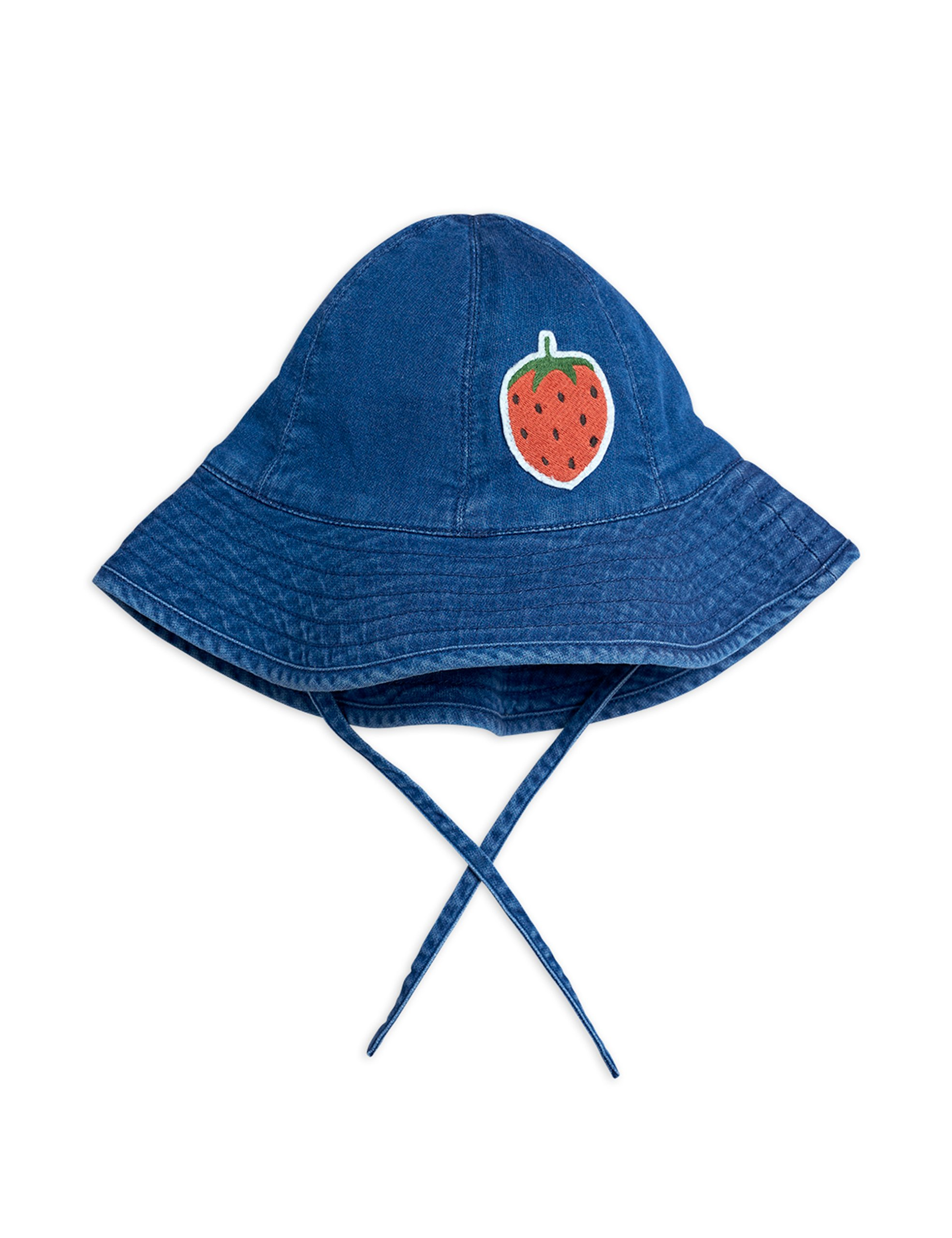 mini rodini denim strawberry sun hat blue