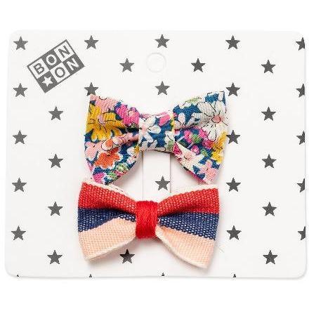 bonton hair clip set stripes floral