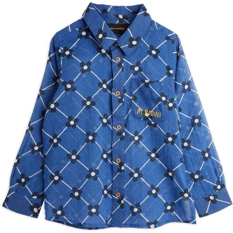 mini rodini flower check woven shirt blue