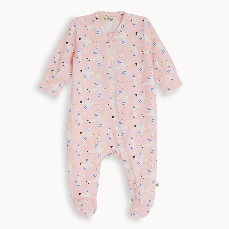 the bonnie mob relax zip front sleepsuit free bird