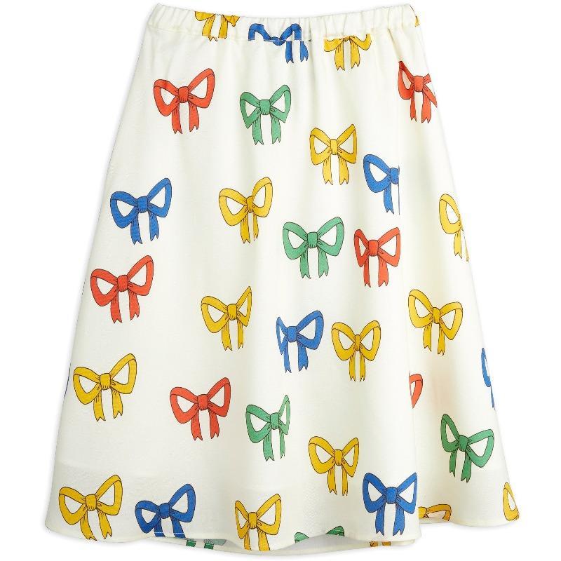 mini rodini bow allover woven long skirt offwhite