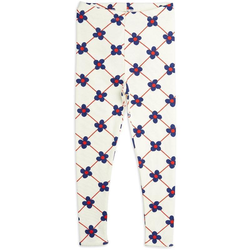 mini rodini flower check allover leggings offwhite