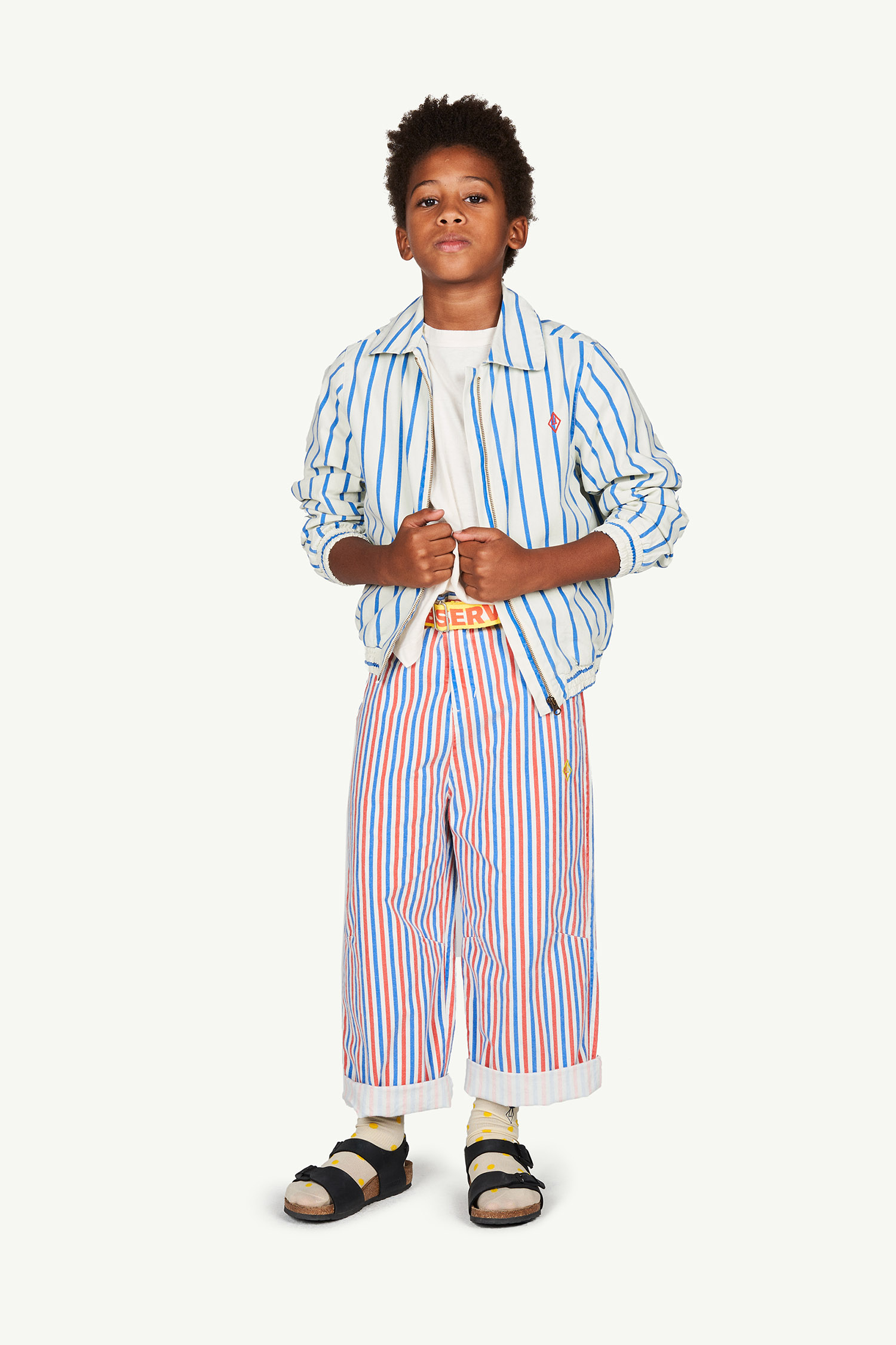 the animals observatory camel kids trousers white stripes