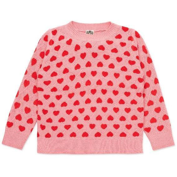bonton hearts pullover pink red
