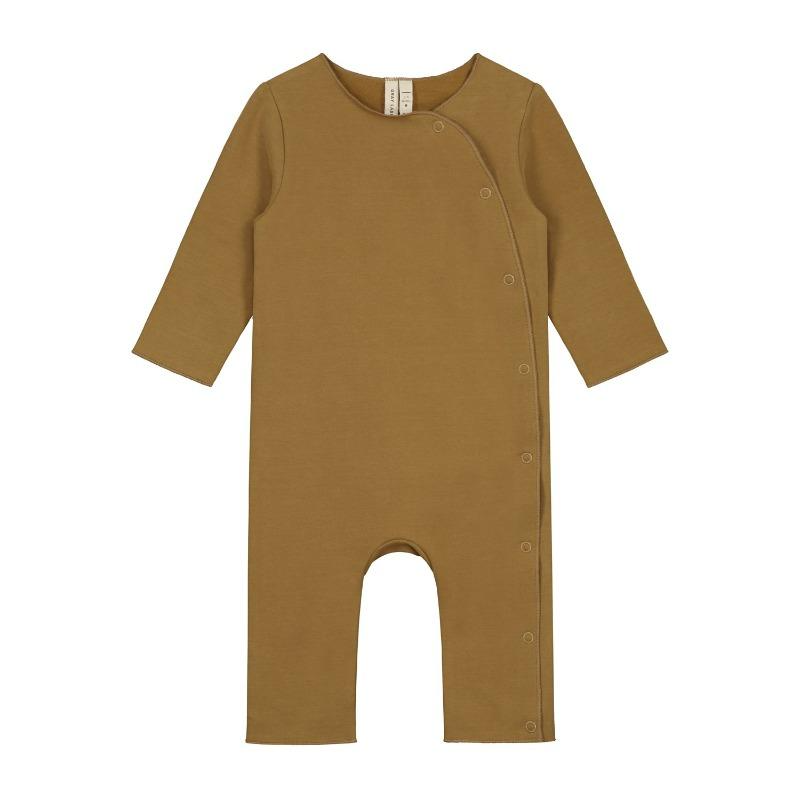 gray label baby suit with snaps peanut