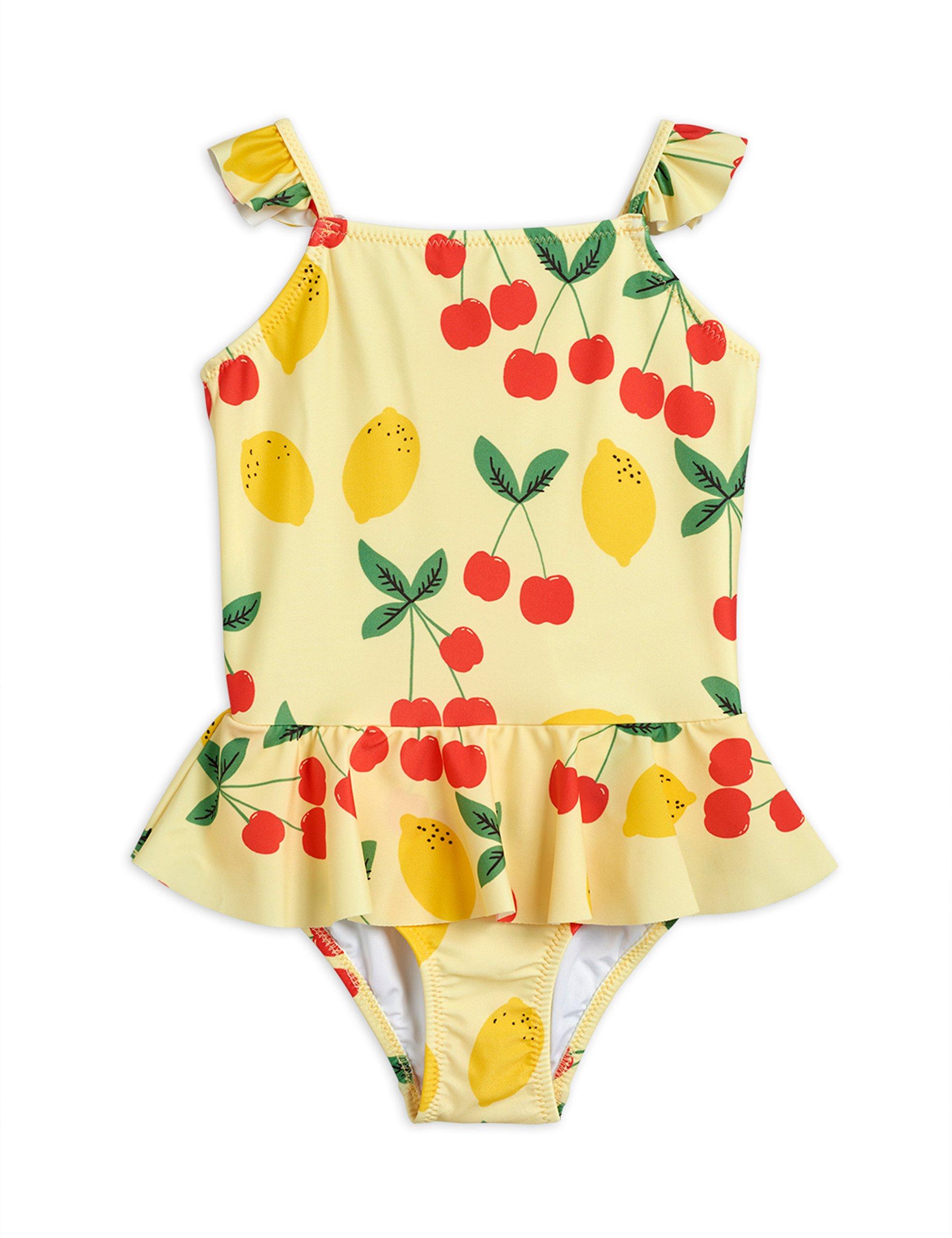 mini rodini cherry lemonade skirt swimsuit yellow