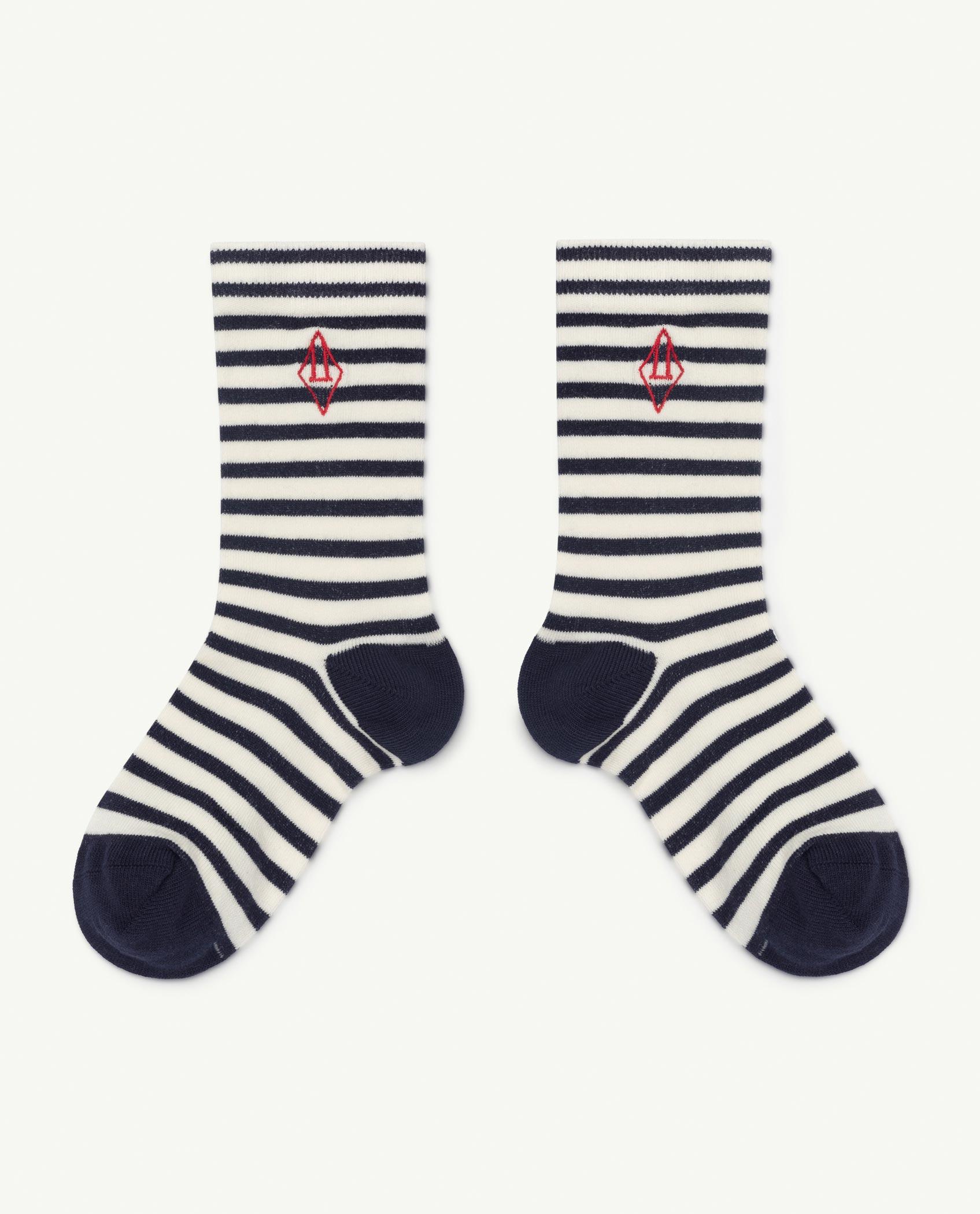 the animals observatory snail socks navy logo