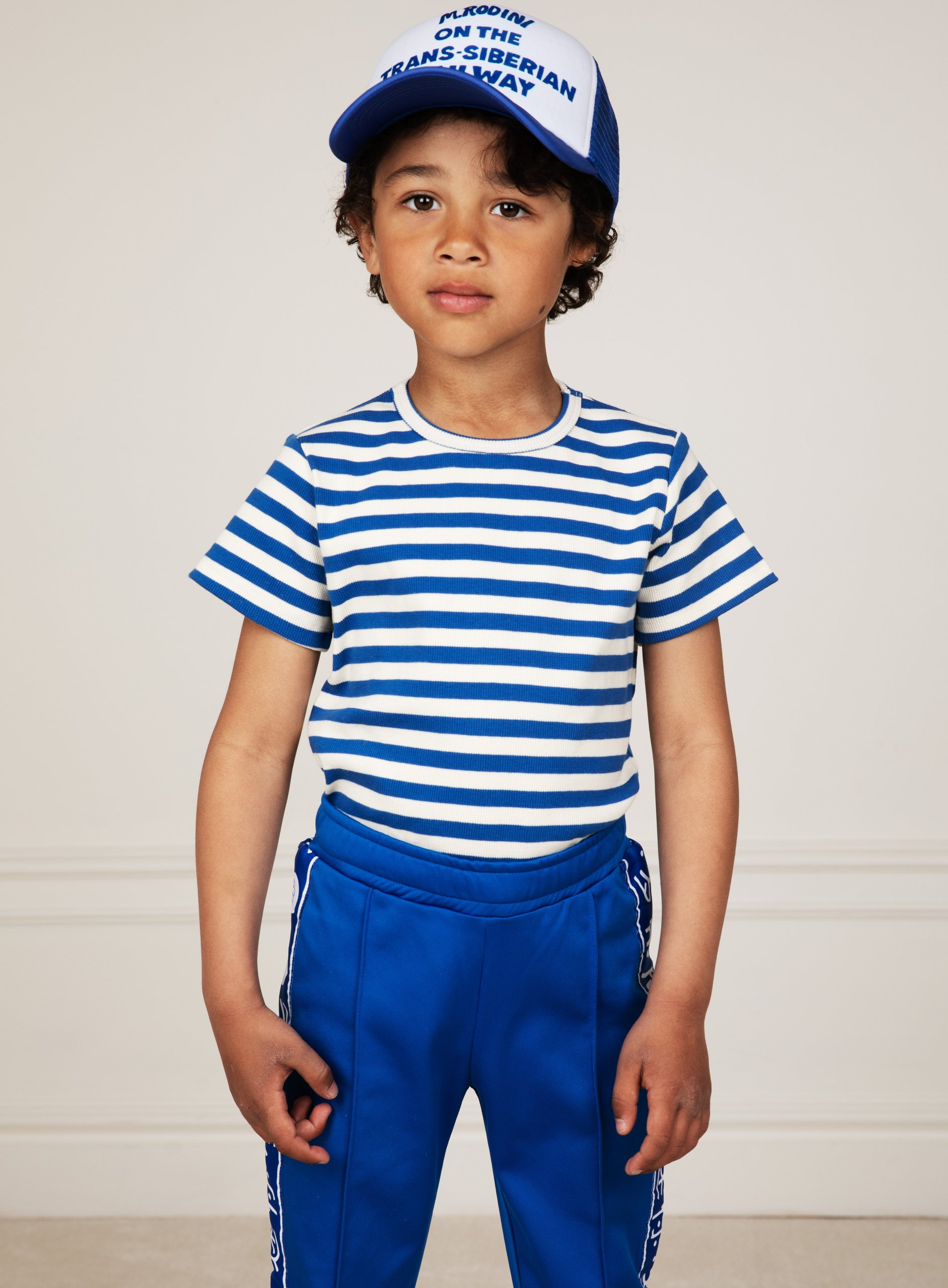 mini rodini stripe rib short sleeve tee blue