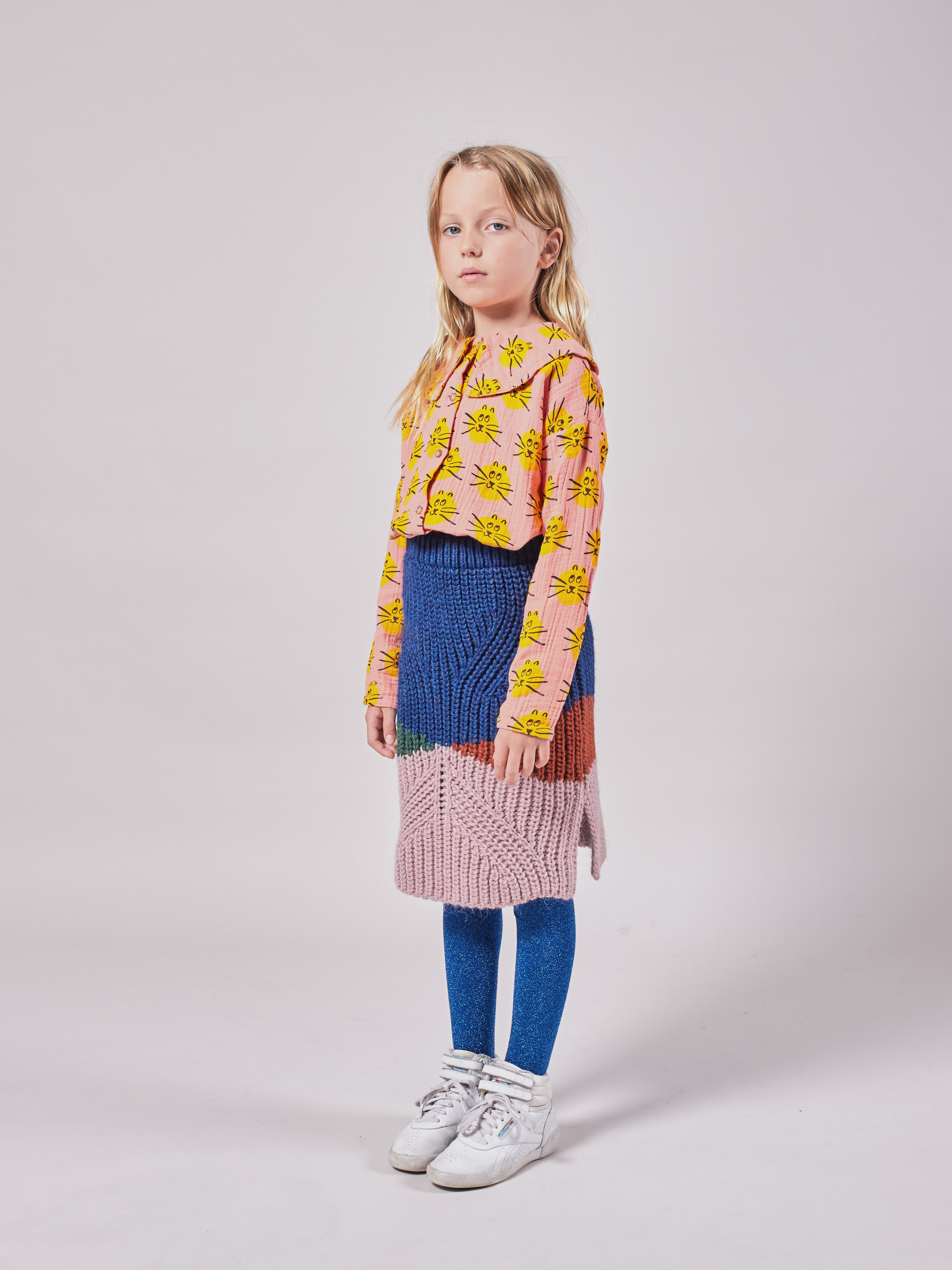 bobo choses color block knitted skirt