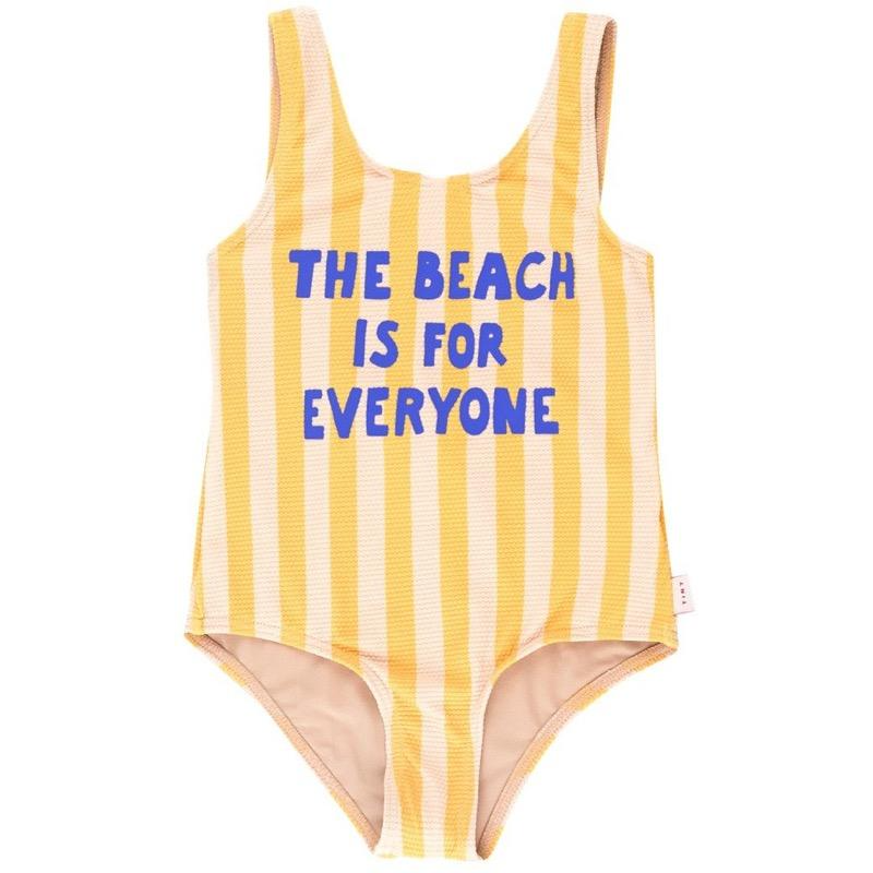 tinycottons the beach is for everyone swimsuit yellow light cream