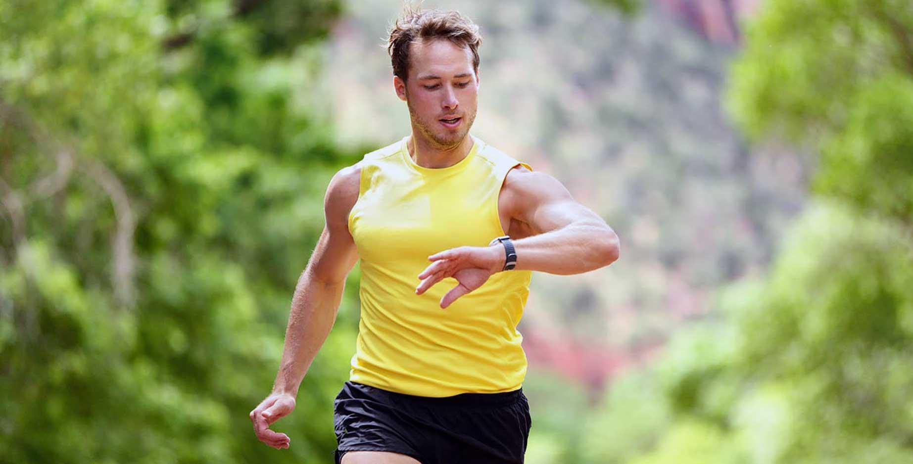 Man keeping track of running progress