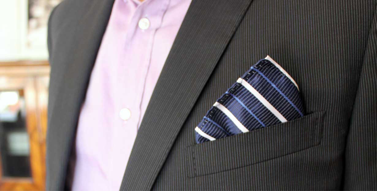 Pocket square matching dress shirt and suit