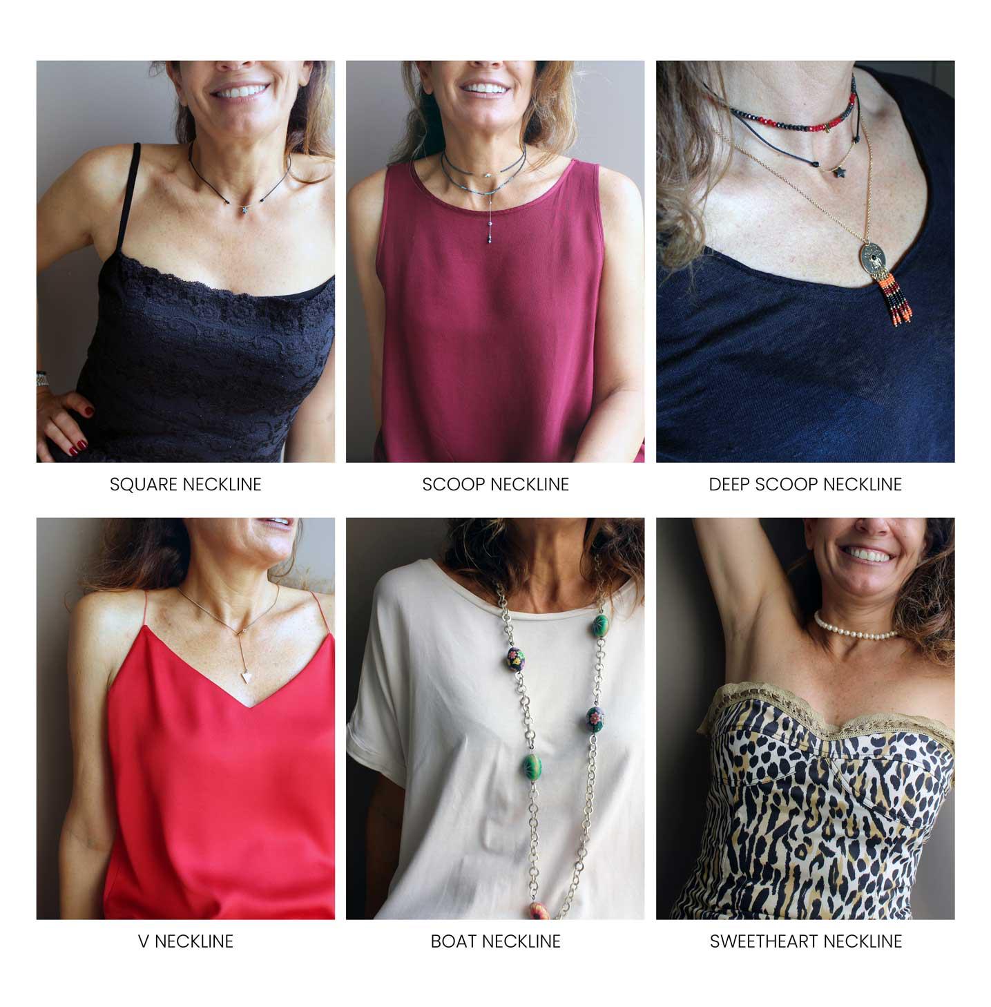 Square neckline, scoop neckline, deep scoop neckline, v neckline, boat neckline, and sweetheart neckline