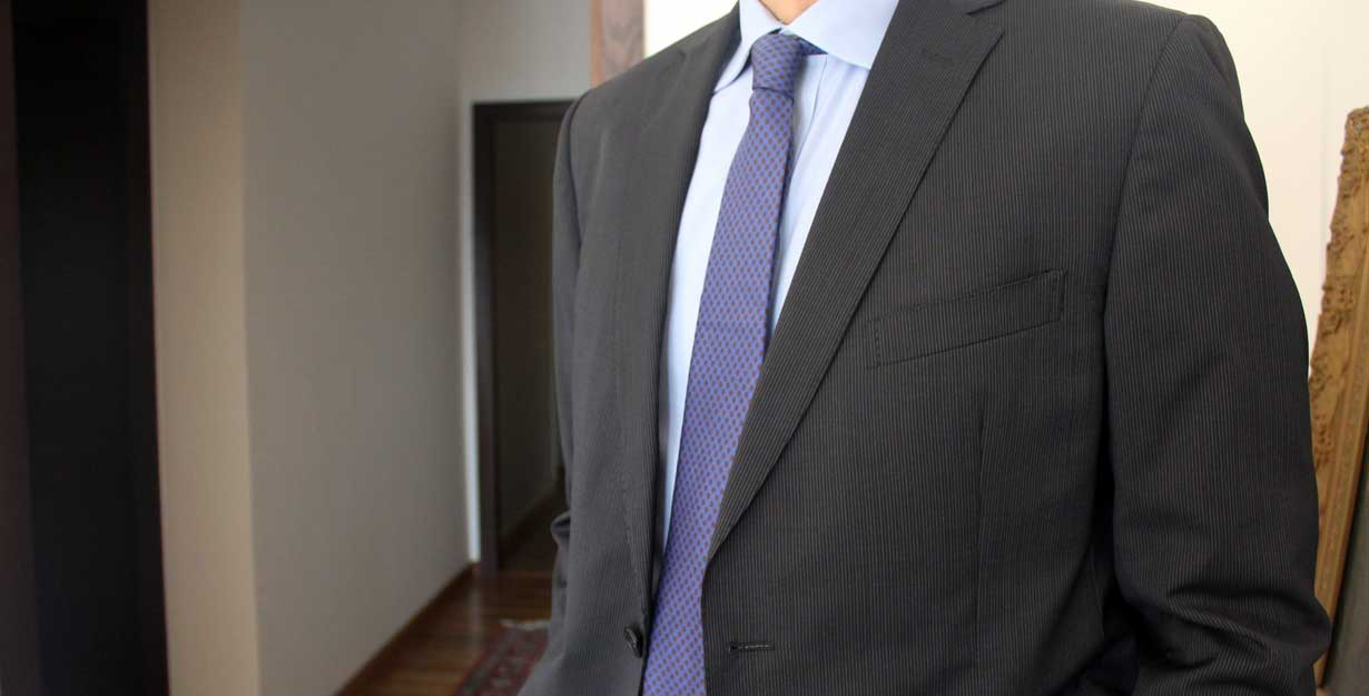 Necktie matching dress shirt and suit
