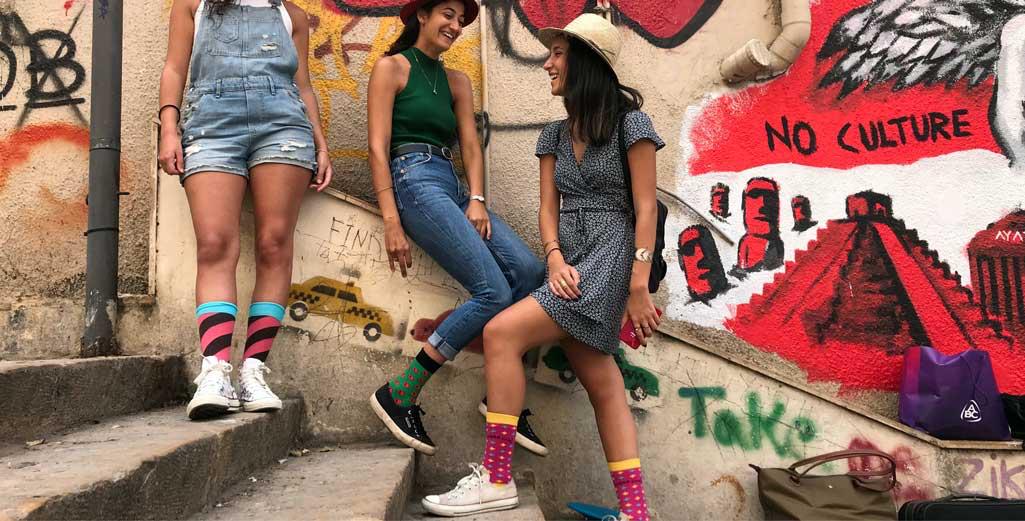 Friends wearing Sikasok funky socks
