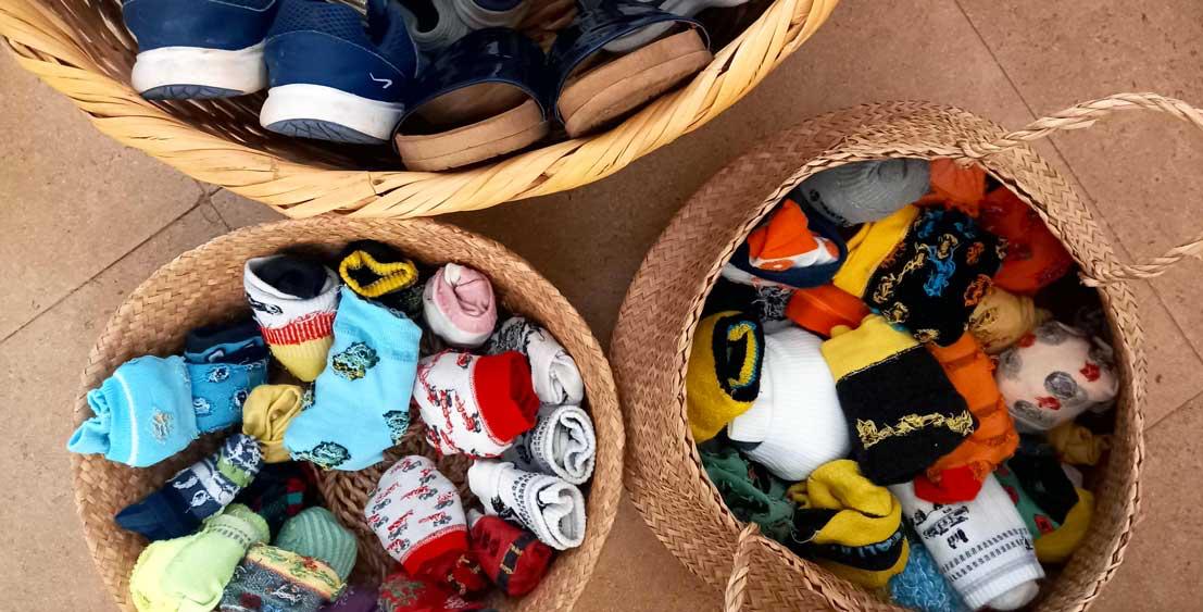 Choose special sports for socks - socks in a basket