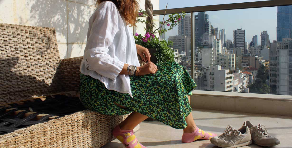 Woman wearing printed outfit