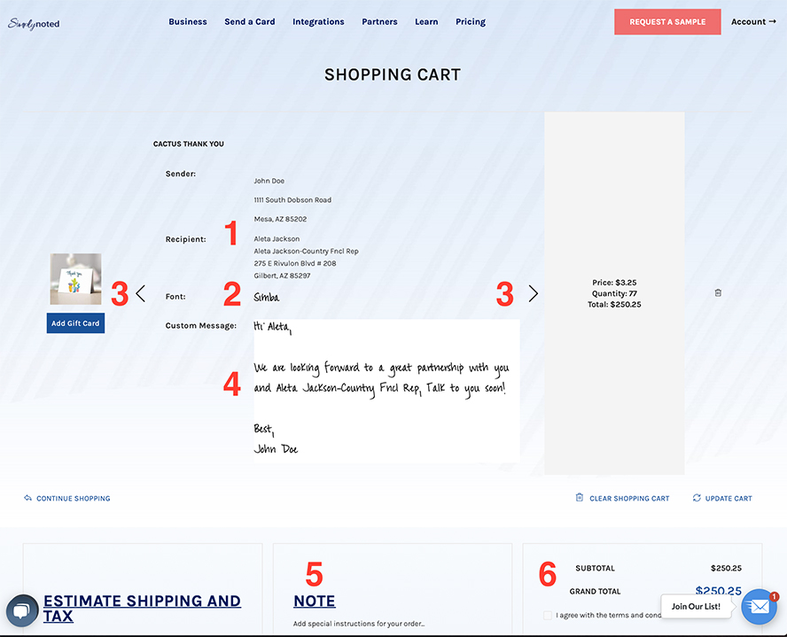 This shows the final ordering screen with sections numbered for reference.