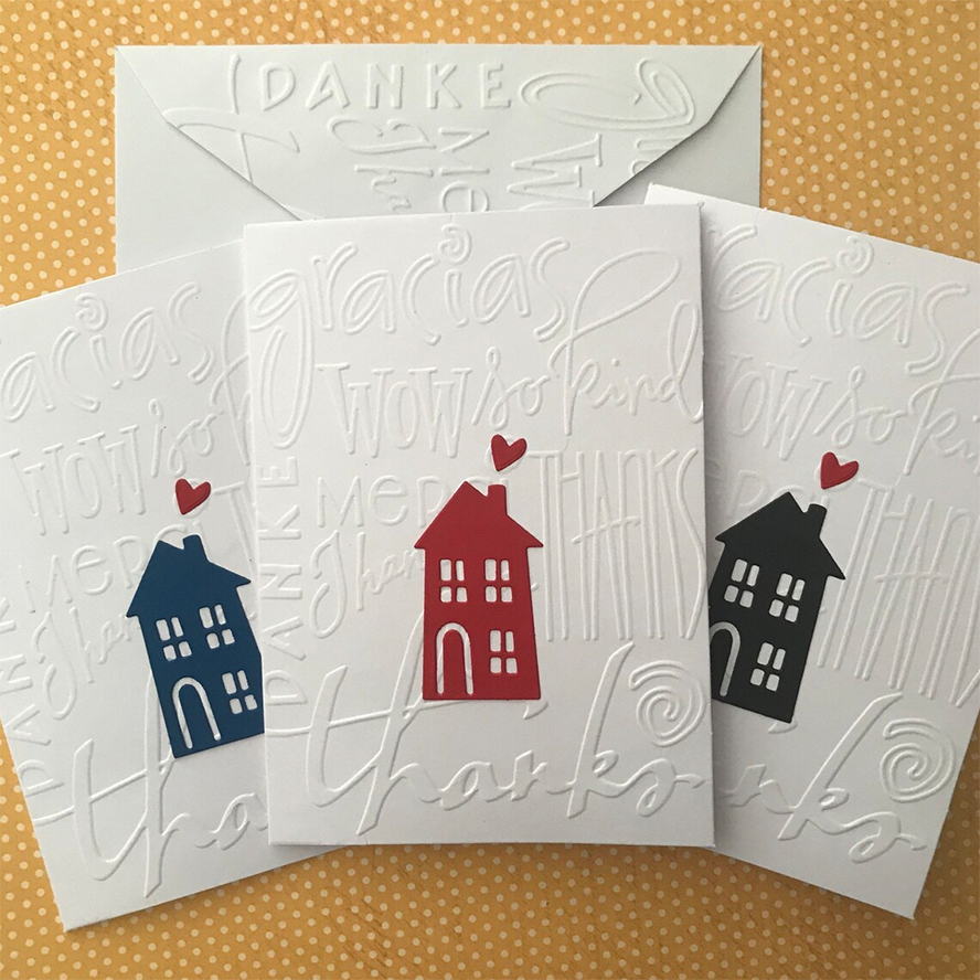 Thank you cards featuring house illustrations.