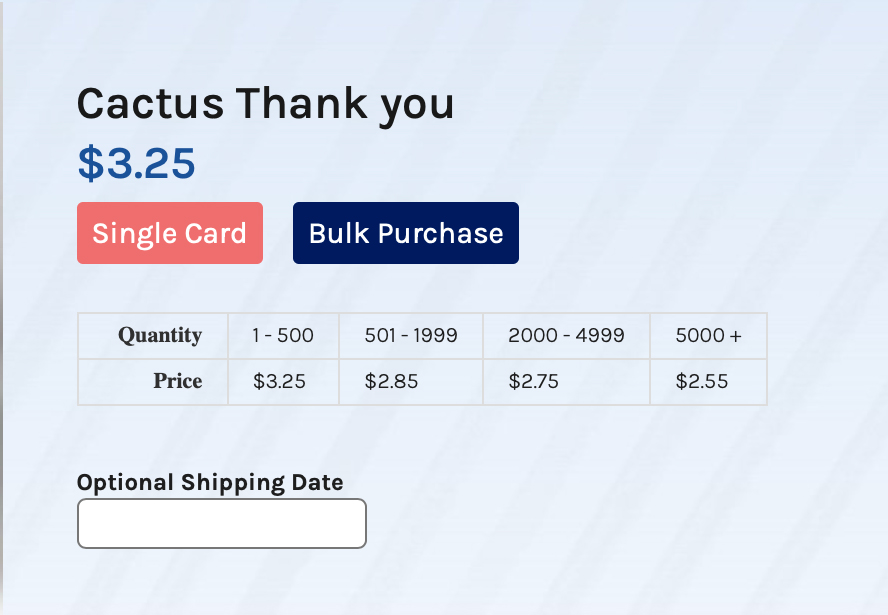 This is from the order screen. It's a close up showing bulk pricing and the optional shipping date.