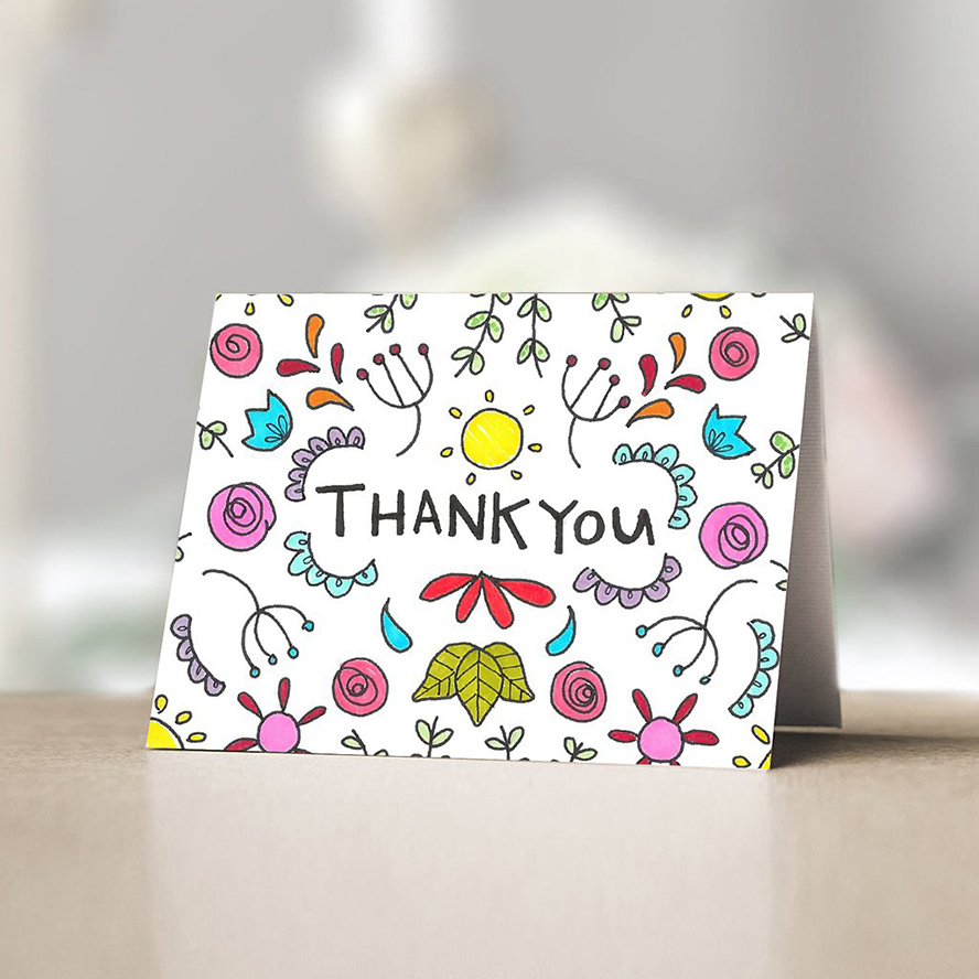 Thank you card with whimsical hand-drawn imagery
