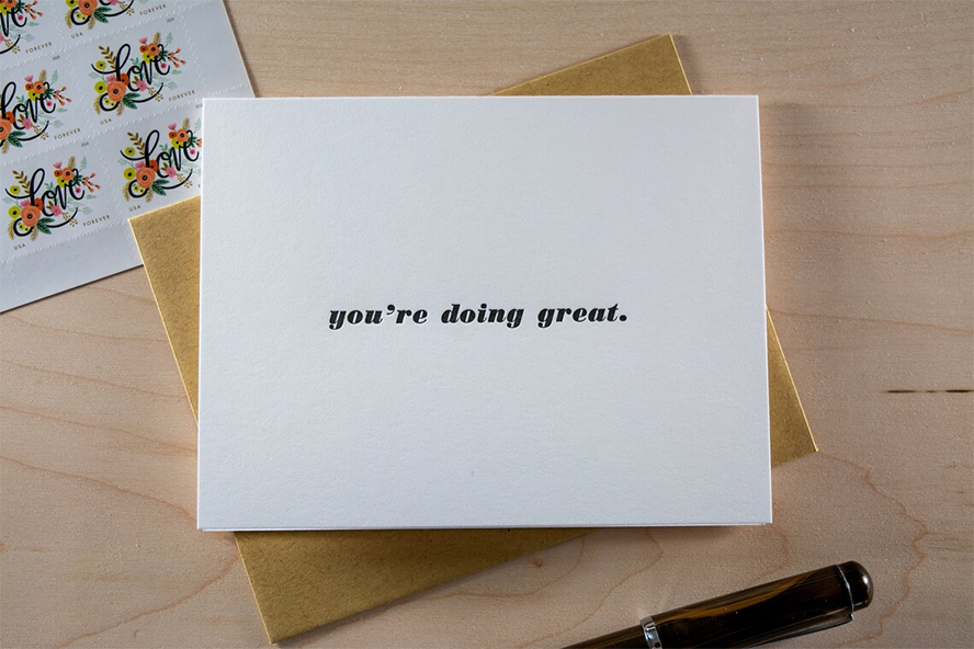 """An employee greeting card that says """"you're doing great""""."""