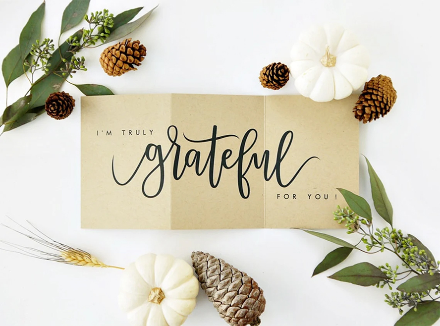 """A card that reads """"I'm truly grateful for you!"""""""