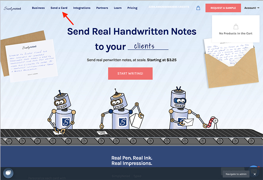 The Simply Noted home page with an arrow pointing to Send a Card