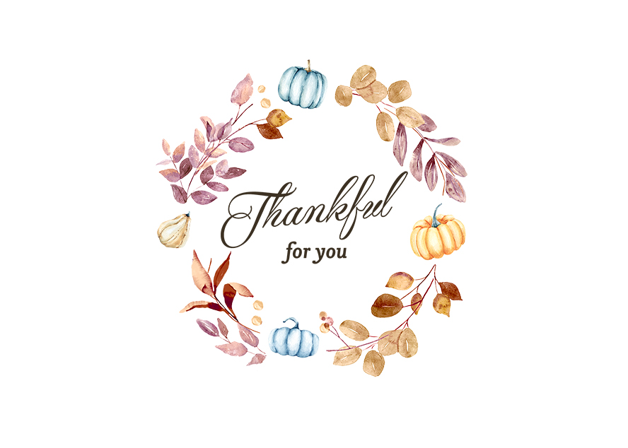"""""""Thankful For You"""" surrounded by a Thanksgiving-themed wreath."""