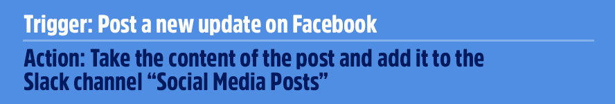 """Trigger: Post a new update on Facebook Action: Take the content of the post and add it to the Slack channel """"Social Media Posts"""""""