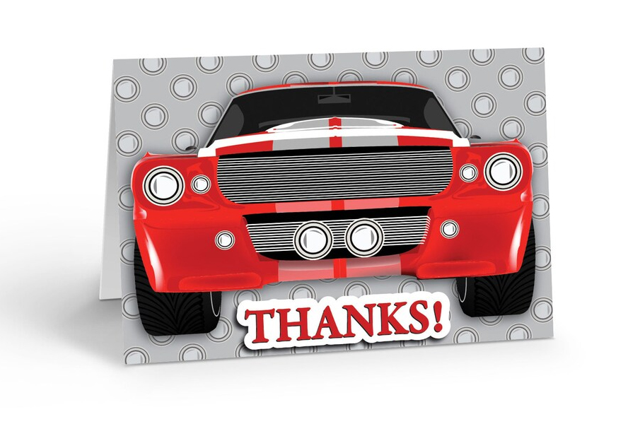 """A greeting card featuring a red muscle car with """"thanks!""""."""