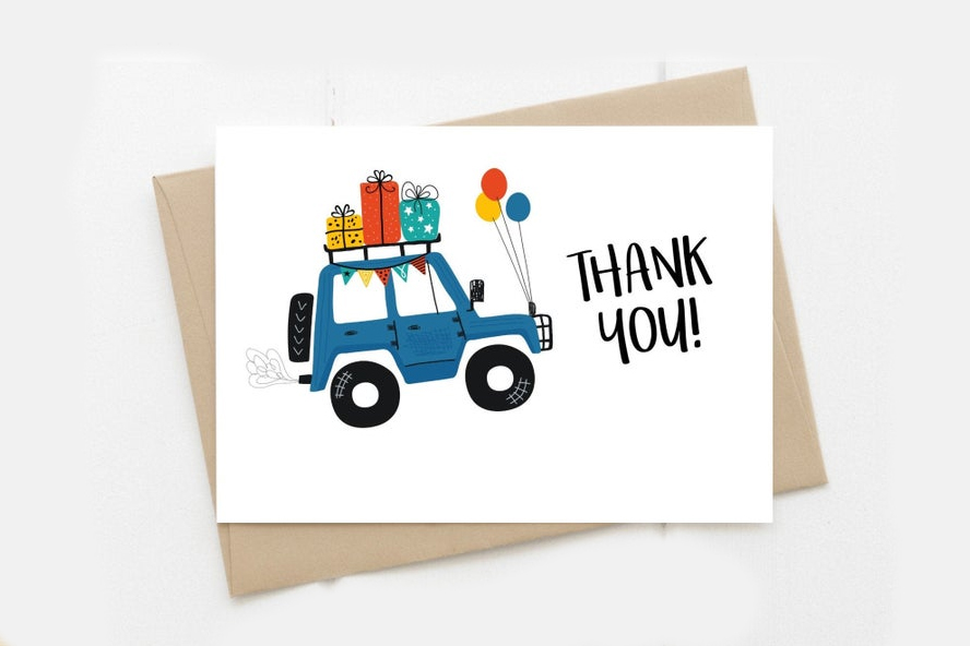 Thank you card with a new car design.