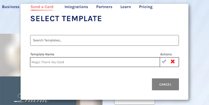 The dialogue box for selecting your desired template.