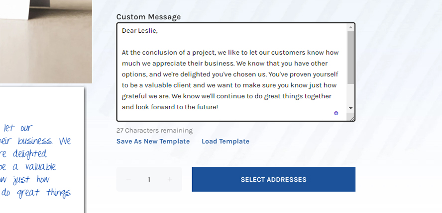 A close up of the message entry area and the Save as New Template button.