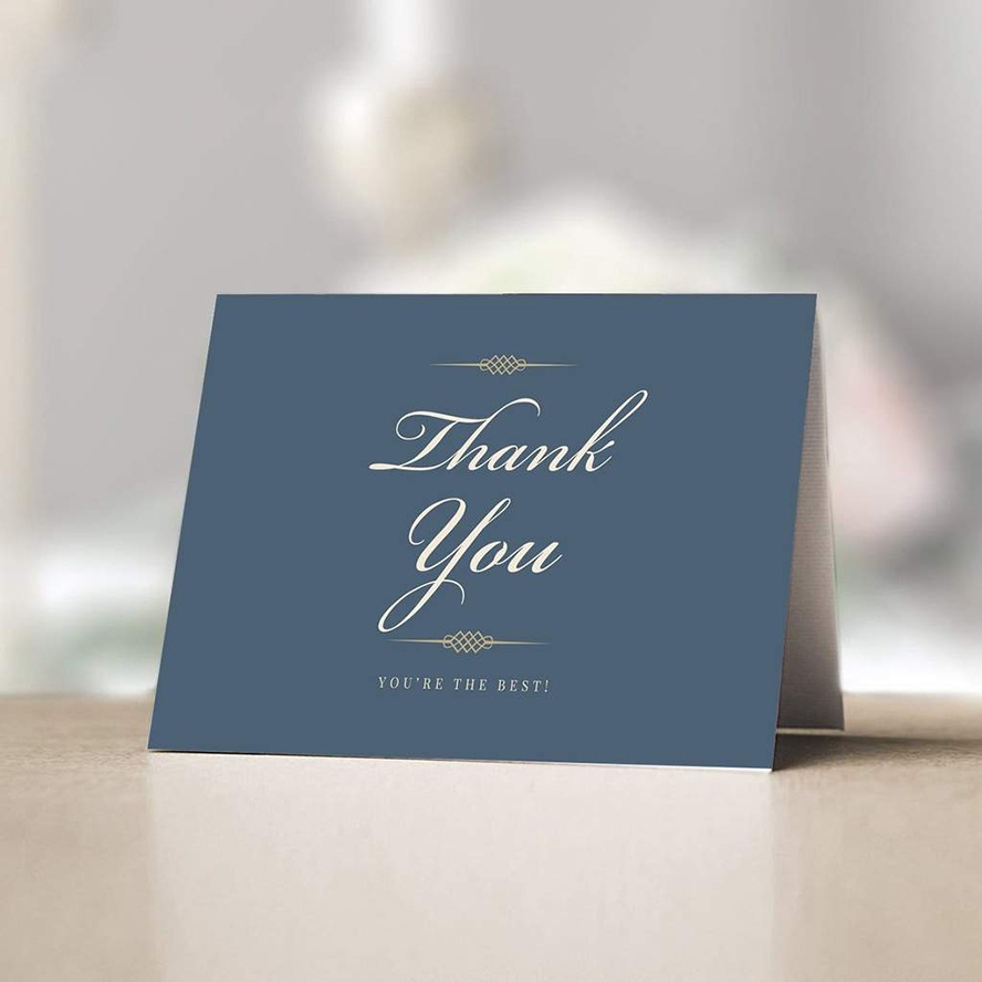 Thank you card in tan and blue
