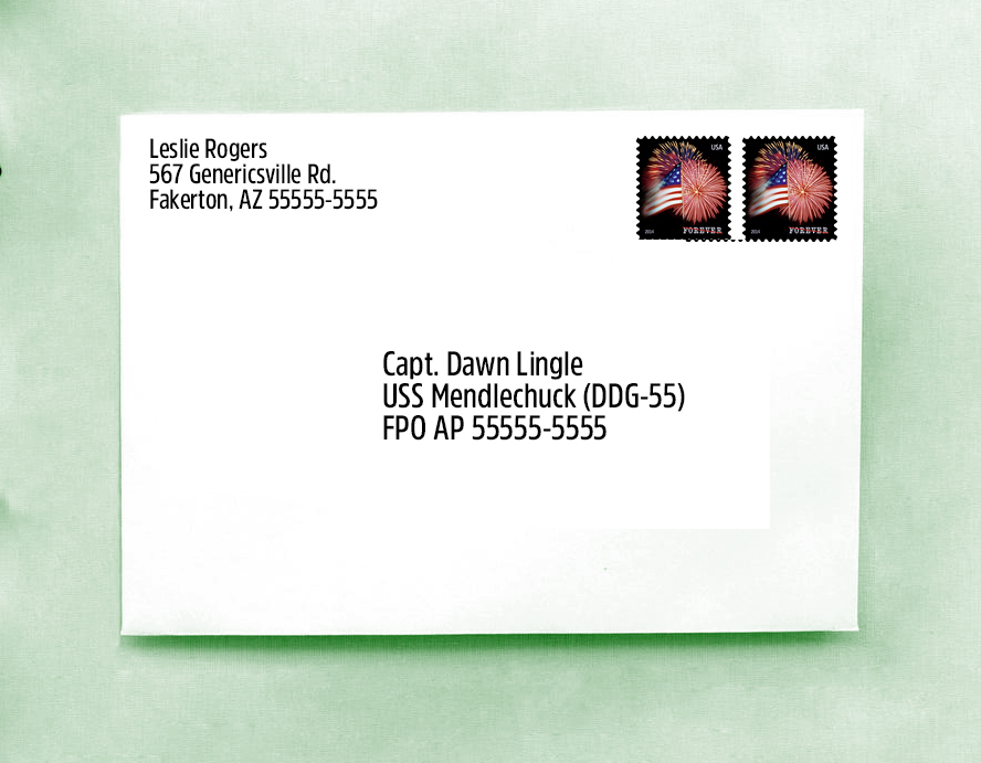 We see an example of a military address.