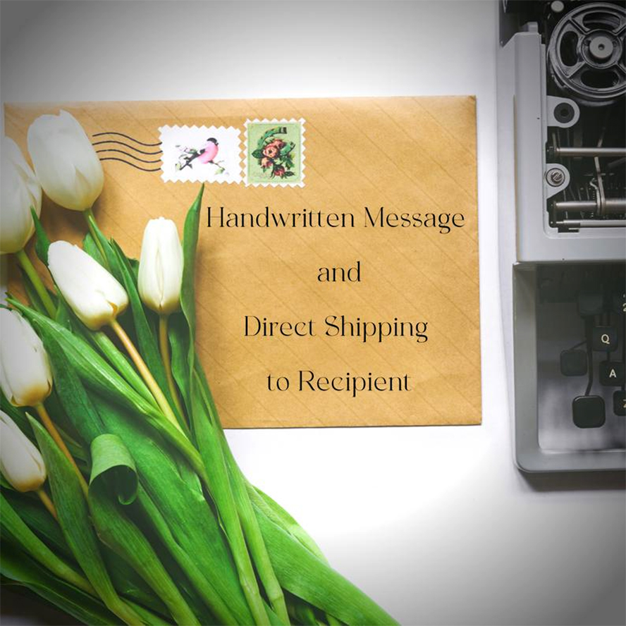 """An envelope that says """"Handwritten message and direct shipping to recipient."""""""