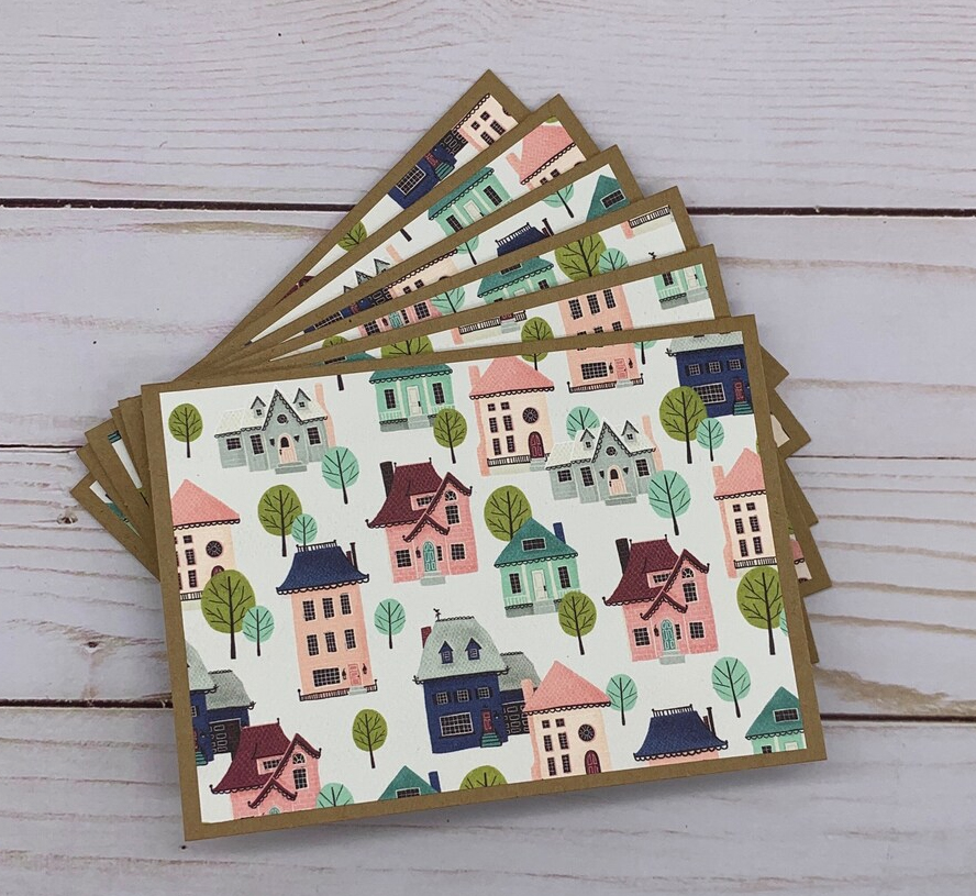 A set of six cards all illustrated with lovely house images.