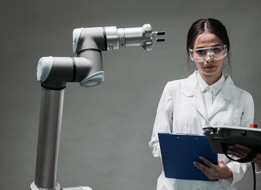 A scientist rates a robots performance.