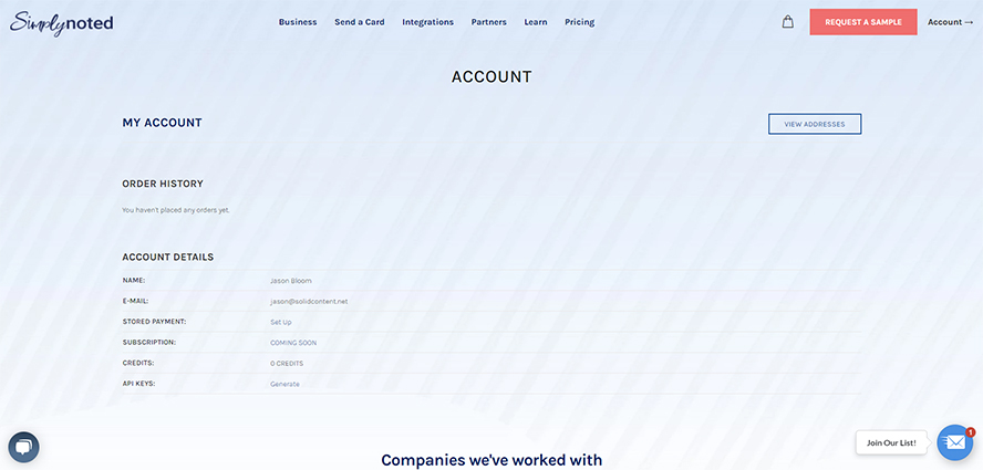 The Simply Noted account page.