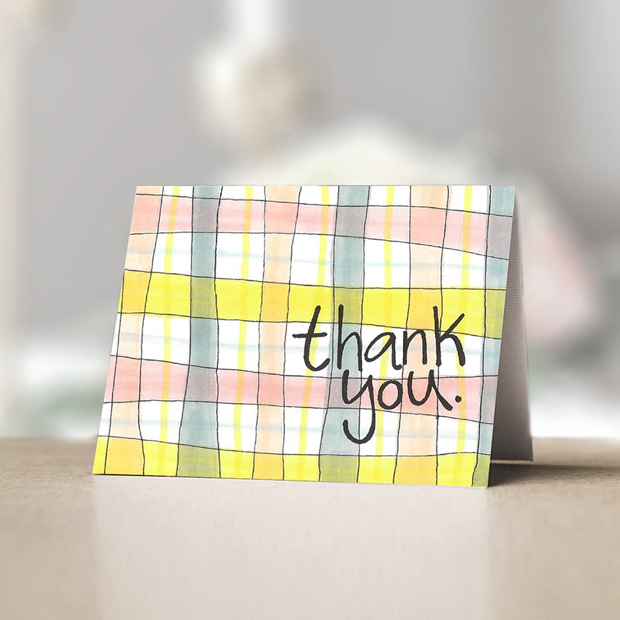 Thank you card with colorful plaid pattern