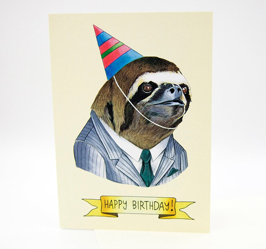Birthday card featuring a sloth wearing a party hat.