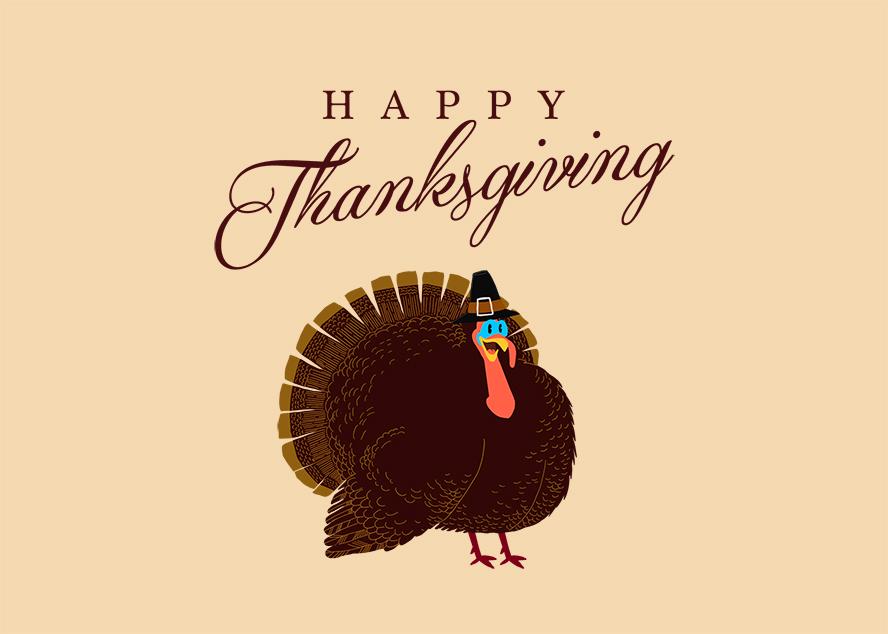 "A cartoon turkey card that says ""Happy Thanksgiving""."
