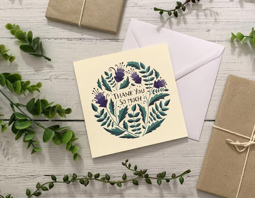 A floral thank you card design.