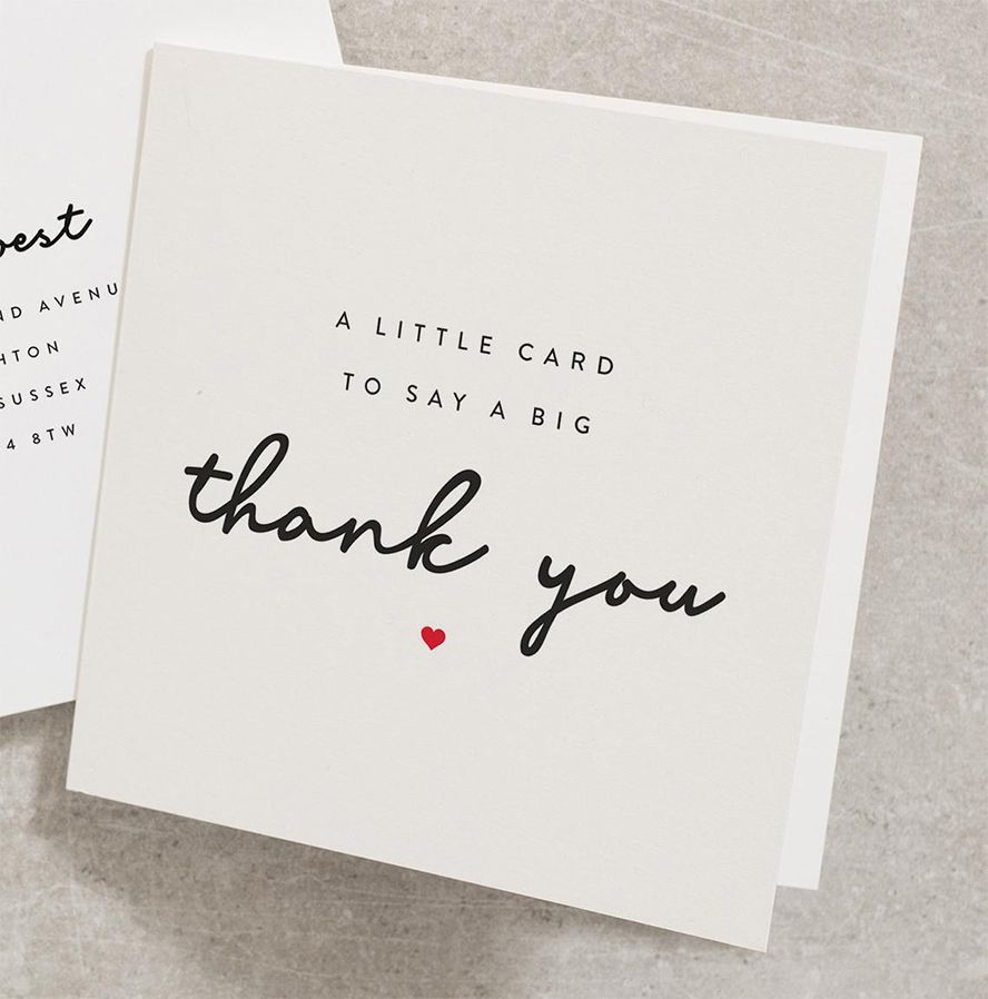 Close up of a thank you card.