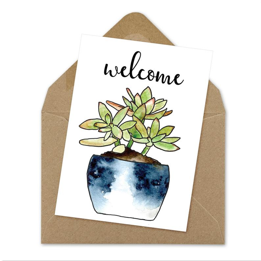 Welcome card with a potted succulent design.