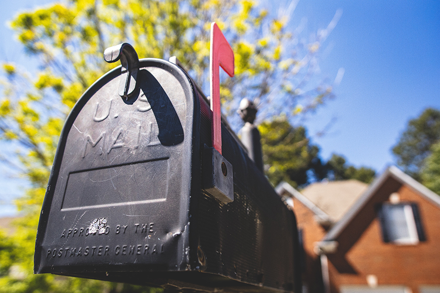 Close up of a residential mailbox.